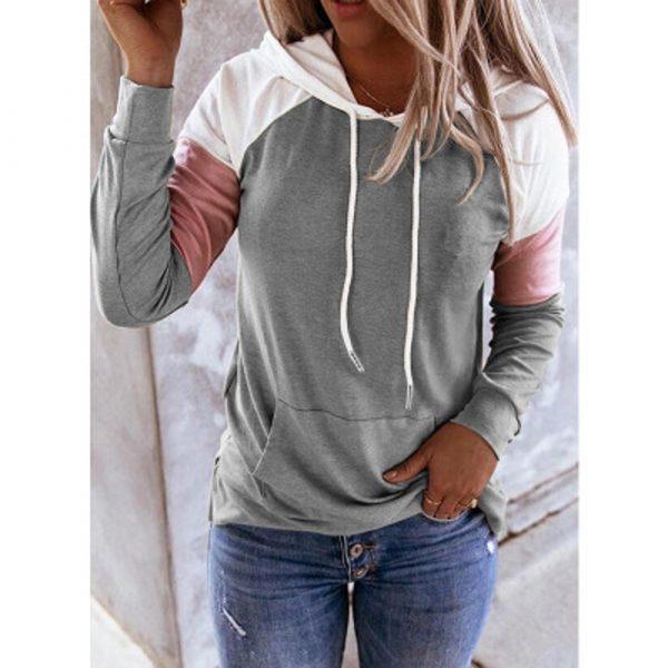 Women Hoodies Harajuku Casual Loose Long Sleeve Hooded 2020 Autumn Vintage Patchwork Sweatshirts Female Elegant Pullover Top 5XL 2