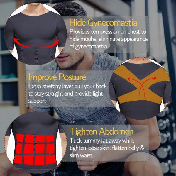 Men Slimming Body Shaper Workout T-shirt Running Sport Shirts Compression Muscle Tank Tops Weight Loss Fat Burning Undershirt