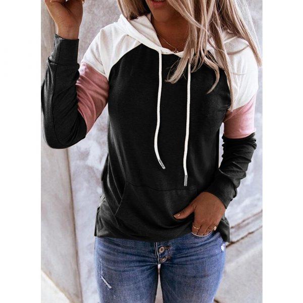Women Hoodies Harajuku Casual Loose Long Sleeve Hooded 2020 Autumn Vintage Patchwork Sweatshirts Female Elegant Pullover Top 5XL 3