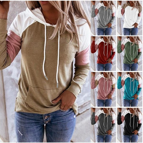 Women Hoodies Harajuku Casual Loose Long Sleeve Hooded 2020 Autumn Vintage Patchwork Sweatshirts Female Elegant Pullover Top 5XL 5