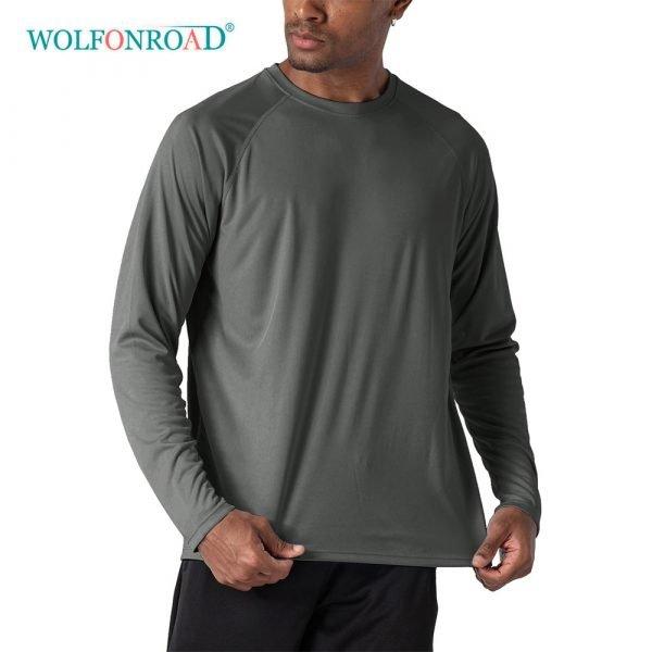 Wolfonroad Outdoor Anti-uv Quick Dry Men's Upf 50 Long Sleeve T-shirts Sun Protect Skin Fishing Hiking Sun Block Shirts Tops Men