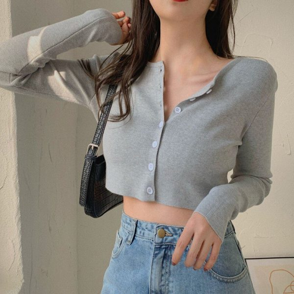 Thin Women's Knitted Cardigan Sexy Solid Color T-shirt Crop Trendy Casual Long Sleeve Women T Shirt