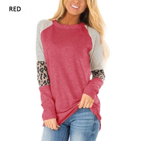 Autumn Top Women Long Sleeve T Shirt 2019 Striped Tops Tee Female Leopard Stitching Tees Fashion Loose Top Lady T-shirt 2xl