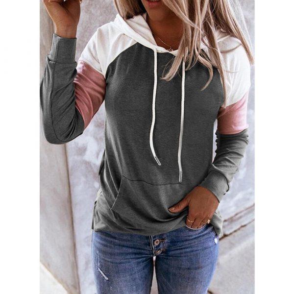 Women Hoodies Harajuku Casual Loose Long Sleeve Hooded 2020 Autumn Vintage Patchwork Sweatshirts Female Elegant Pullover Top 5XL 1