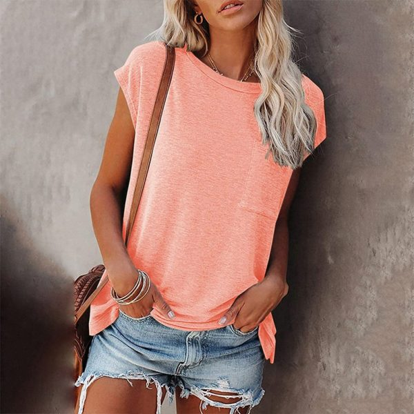 Solid Tops Tee Shirts Women Pocket T-shirt 2021 Summer Casual O-neck Loose T Shirt Short Sleeve Female Soft Tops Mujer Camisetas
