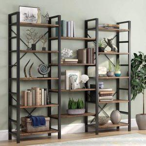 Bookshelf Triple Wide 5-shelf Bookcase Vintage Industrial Style Shelves Wood And Metal Bookcases Etagere Large Open Bookshelf