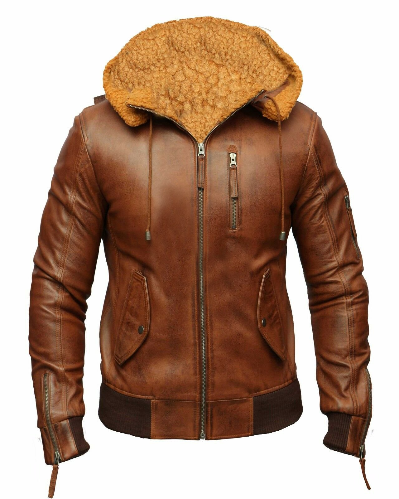 Men Leather Jacket 100% Cowhide For Winter
